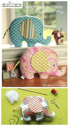 Elephant Stuffed Animal PDF Sewing Pattern - Instant Download!Make sweet elephant softies in a snap that will delight your little (and not so little) ones.