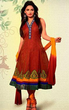 Picture of Gorgeous Crimson Color Designer Salwar Kameez Online Shopping