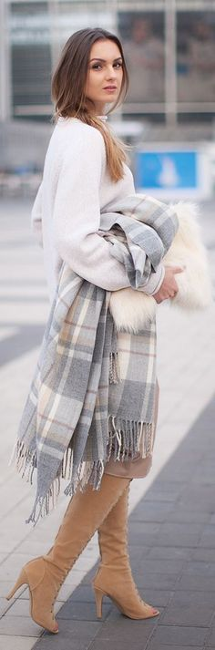 2014 fall trend big size scarves + earthy grey colours. Grey Multi Oversized Plaid Scarf