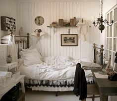 Guest Bedroom Whitewashed Chippy Shabby Chic French Country Rustic Swedish decor idea. ***Pinned by oldattic ***.