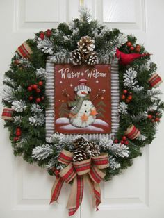 """Winter Welcome"" Country Prim Rustic Christmas Decor Door Wreath Arrangement"