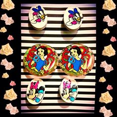 Retro Disney Kawaii Daisy Duck Minnie Mouse and Princess Snow White Cilp on Earrings set by INGcouture on Etsy https://www.etsy.com/listing/194546907/retro-disney-kawaii-daisy-duck-minnie