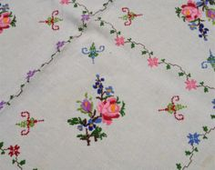 vintage linen tablecloth hand embroidered by RareRagsandTreasures