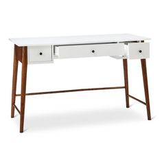 Porter Mid Century Modern Two-Tone Writing Desk -White/Brown : Target