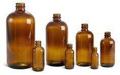 SKS Bottle & Packaging - Glass Bottles, Amber Glass Boston Rounds w/ Cork Stoppers