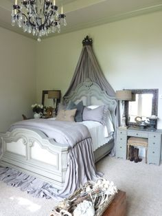 Bed crown. Love this room's style.
