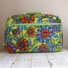 Fun Bright Vintage Floral Suitcase (Large) / Bold Travel Bag / Children's Carry on on Etsy, $20.00