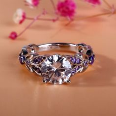 Jeulia Butterfly Round Cut Created White Sapphire with Amethyst Sidestone Engagement Ring - Jeulia Jewelry