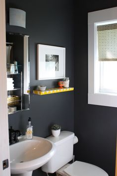 Another idea for our half bath - never sure if such dark colors work in a small room