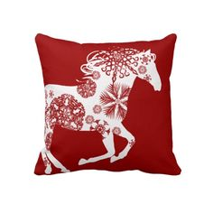 Red and White Snowflake Christmas Horse Pillow