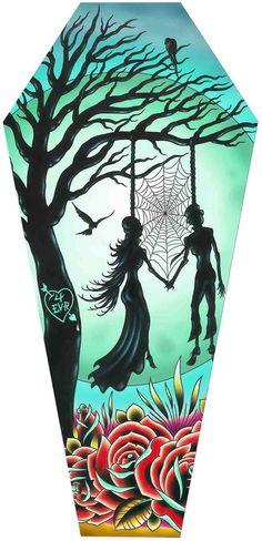 Love Til Death Coffin Stretched Canvas