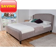 Paris Upholstered Bed Frame - Mink Chenille Double, £345