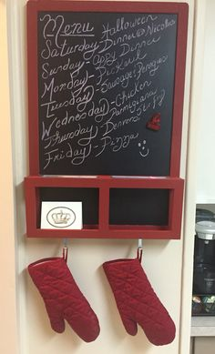 Menu Board - ikea chalkboard painted red to match kitchen accessories.
