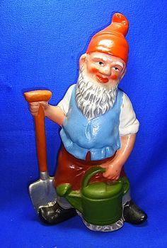 Vintage German Art Pottery Yard Garden Outdoor Gnome / Dwarf Gardener #^