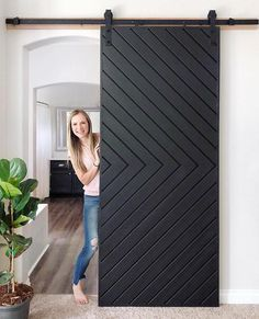 Black sliding barn door with herringbone pattern modern barn door Home Renovation, Home Remodeling, Interior Barn Doors, My Dream Home, Home Projects, New Homes, House Design, Door Design, Interior Design