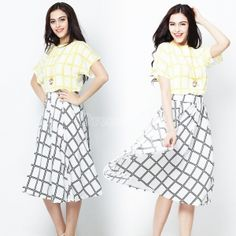 Women Retro Plaid Corset T-Shirt Skirt Set Dress - $11.40 USD
