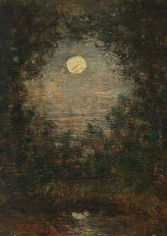 "english-idylls:  "" 1910-again:  "" Ralph Albert Blakelock (1847-1919), Full Moon Through Trees n.d.  "" """