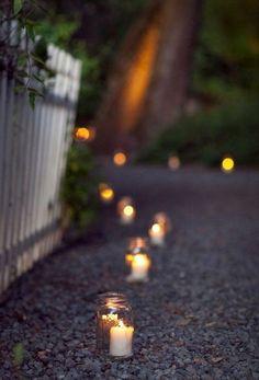 Ideas for backyard wedding aisle walkways lanterns