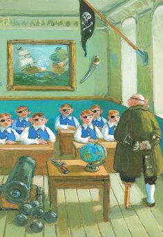 Ontwerp: Michael Sowa. Piratenschool.  Sept 19 is Int'l Talk Like a Pirate Day!