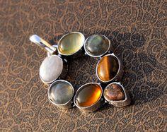 61x36 mm Natural Multi Gemstone Cabochon by RareGemsNJewels