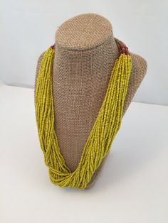 Boho Beaded | Multistrand necklace | Gypsy Necklace | Mustard Yellow | Retro Boho | Tribal Necklace | Statement Necklace | Bohemian Necklace