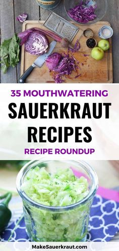 A collection of 35 sweet, savory and spicy sauerkraut recipes - and Kimchi - from around the web. You're sure to find a recipe to tantalize your taste buds. Eating sauerkraut daily can improve digestion. #sauerkrautrecipe #fermentedsauerkraut #homemadesauerkraut