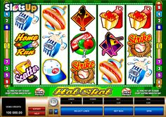 Grab some snacks and visit a rewarding baseball game in the Hot Shot free slot! This sport-themes @microgaming  slot has 5 reels and 9 pay lines. A Scatter symbol with nice payouts and a Wild symbol with substituting functions will be very useful and let you form more winning combos with baseball bats, balls, trophies, caps and other symbols. It's baseball time at www.SlotsUp.com!