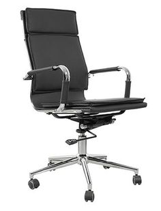 Gunar High Back Modern Office Chair: Gunar High Back chair offers leatherette seat and back on a chromed steel frame to provide you with durable and comfortable seating experience. The armrests, also made with chromed steel has leatherette covers.    Colors: Black, White  #eames replica