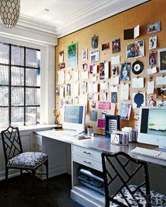 bulletin board wall. corkboard wall, inspiration wall, elle decor, corkboard decor, inspiration boards, cork boards, bulletin boards, office walls, office bulletin board
