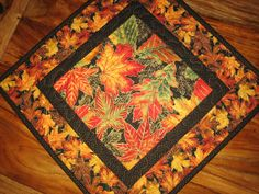 Fall Autumn Leaves Quilted Table Topper Table by TahoeQuilts