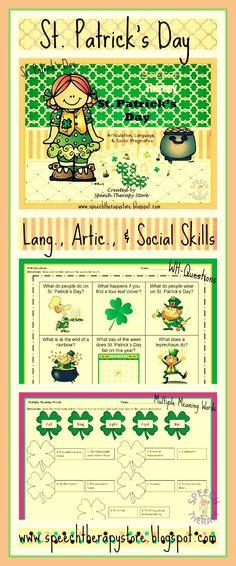 St. Patrick's Day Language, Articulation, & Social Pragmatics Bundle