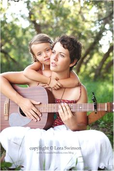 mother and daughter famili photographi, mother daughter, guitar