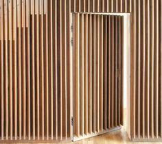 old house interior Timber Slats, Timber Cladding, Wooden Slats, Fence Design, Door Design, Wall Design, House Design, Slat Wall, Wood Wall