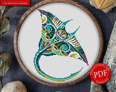 Mandala Cramp-Fish Cross Stitch Pattern for Instant Download - 294| Lovely Cross Stitch| Room Decor| Needlecraft Pattern| Easy Cross Stitch