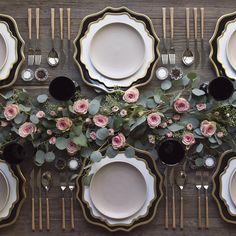They're officially here!! Setting the table at #casadecasadeperrin with our NEW Black + Gold Anna Weatherley Chargers! Paired with our White + Gold AW Dinnerware + Heath Ceramics in French Grey + Teak Flatware + Vintage Black Goblets + Antique Crystal Salt Cellars  #sundaysupper
