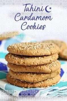 Tahini Cardamom Cookies (Vegan & Gluten-free) Eid Cookies - My WordPress Website Gluten Free Baking, Gluten Free Desserts, Vegan Desserts, Dessert Recipes, Gluten Free Biscuits, Vegan Meals, Health Desserts, Plated Desserts, Vegan Sweets