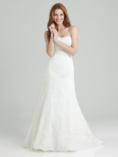Simple but Good Taste Floor-length Strapless A-line Wedding Dress with Semi-cathedral Train
