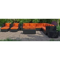 Modway EEI723EXPORASET Cohesion 11 Piece Outdoor Patio Sectional Set in Espresso Orange -- Check out this .
