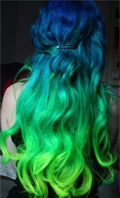 Dark Blue transition to green and bright green hair.   Referenced by WHW1.com: WebSite Hosting - Affordable, Reliable, Fast, Easy, Advanced, and Complete.©