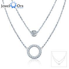 Genuine 925 Sterling Silver Double Chain Necklaces & Pendant Paryt Accessories  Zirconia Choker Necklaces(Jewelora  NE101074)