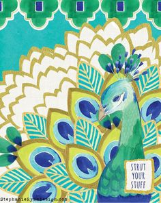 Pavo Peacock Art Print by stephanieryanart