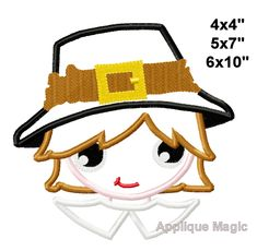 Thanksgiving Pilgrim Boy Machine Applique Design Embroidery Pattern 4x4 5x7 6x10 7x11 INSTANT DOWNLOAD by AppliqueMagic on Etsy Machine Applique Designs, Machine Embroidery Patterns, Tiger Face Mask, Different Types Of Fabric, Monster Face, Thanksgiving, W 6, Pilgrim, Digital Pattern