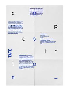Creative Poster, Tate, Modern, Design, and Typography image ideas & inspiration on Designspiration Layout Design, Graphic Design Layouts, Graphic Design Posters, Graphic Design Typography, Graphic Design Inspiration, Creative Inspiration, Grid Graphic Design, Typography Images, Text Design