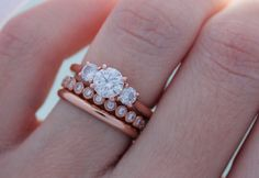 Ummm we want this 18K Rose Gold Ring Stack from @briangavin for more #engagementring inspiration follow them on IG here https://instagram.com/briangavindiamonds