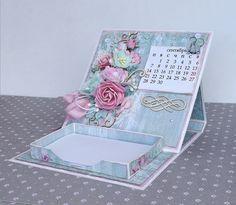 Scrapbooking, Scrapbook Paper Crafts, Fancy Fold Cards, Folded Cards, Diy Calender, Homemade Calendar, Note Holders, Paper Crafts Origami, Easy Diy Gifts