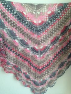 Crochet Lace Grey Brown Cream Pink Very Soft by QueensAccessories Crochet Shawl, Crochet Lace, Crochet Tops, Baby Knitting Patterns, Shawls And Wraps, Crochet Projects, Brown And Grey, Autumn Fashion, Fashion Accessories
