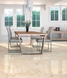 Savana Cream Marble Effect Dining Room Floor Tile