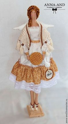 Феечка Wabe (Австрия) - бежевый, тильда, тильда кукла, тильда ангел, фея тильда