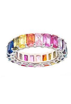 Rainbow Sapphire CZ Emerald Cut Eternity Ring - – Maya J Jewelry Sapphire Eternity Ring, Eternity Rings, Pendant Jewelry, Jewelry Box, Jewellery, Emerald Cut, White Gold, Maya, Pendants