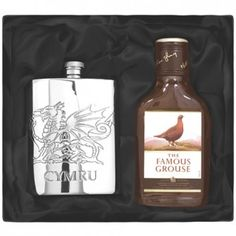 Engraved Welsh Pewter Hipflask and Whisky Gift Set